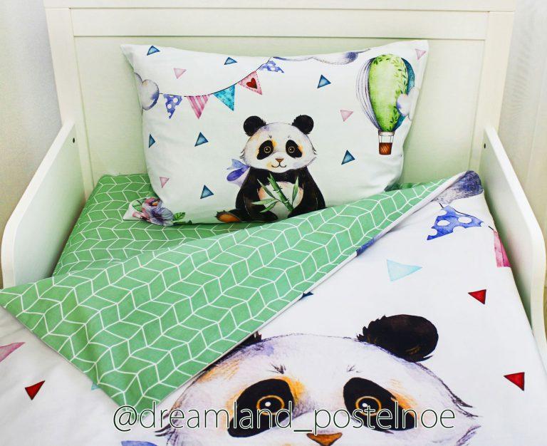детское постельное белье с животными панда