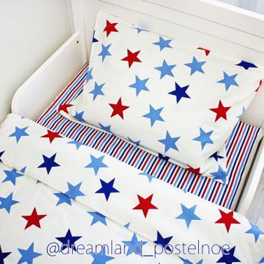 детское постельное белье яркие звезды