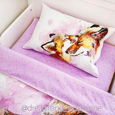 детское постельное белье лисички акварель 1