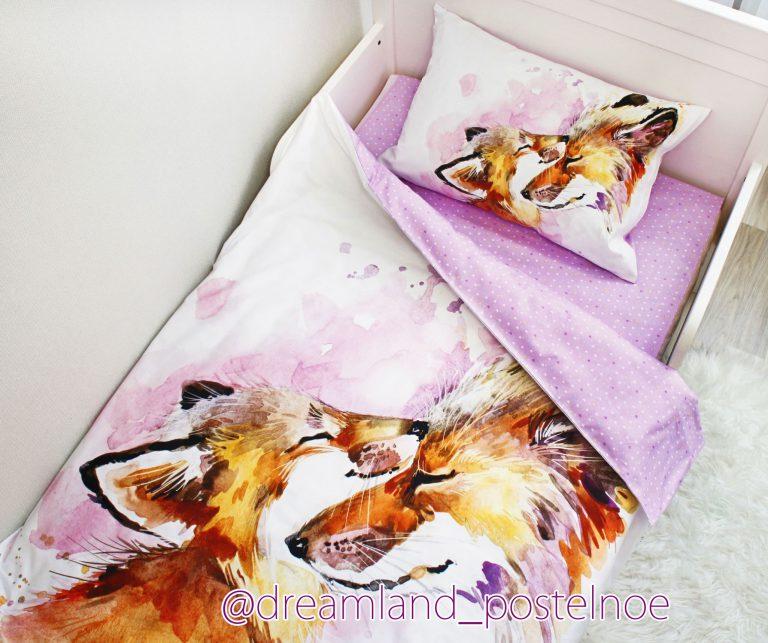детское постельное белье лисички акварель 2