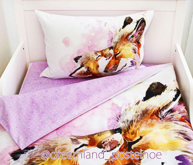 детское постельное белье лисички акварель