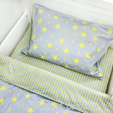 постельное белье желтые звезды на сером