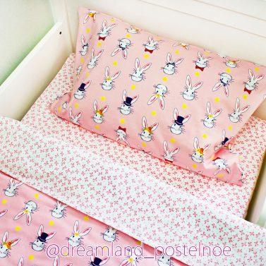 постельное белье зайцы на розовом 2