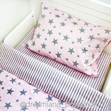 постельное белье серые звезды на лиловом
