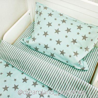 постельное белье серые звезды на мятном 2