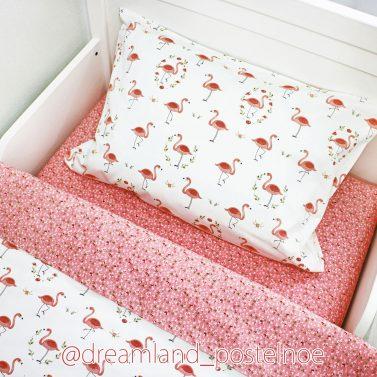 постельное белье фламинго на белом 2