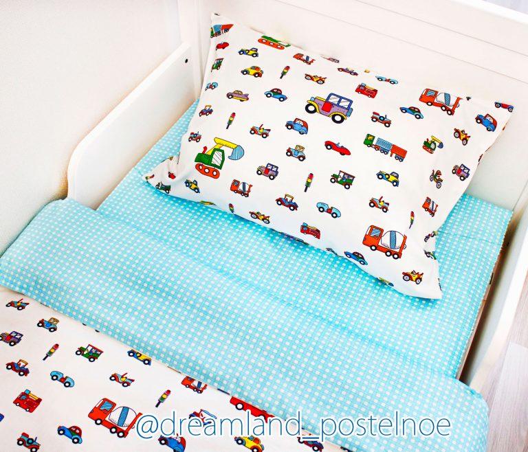 детское постельное белье машинки