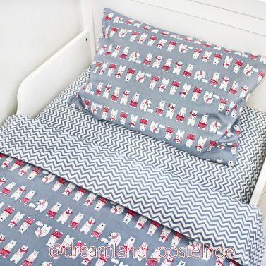 детское постельное белье мишки в розовых штанишках