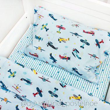 детское постельное белье самолеты на голубом