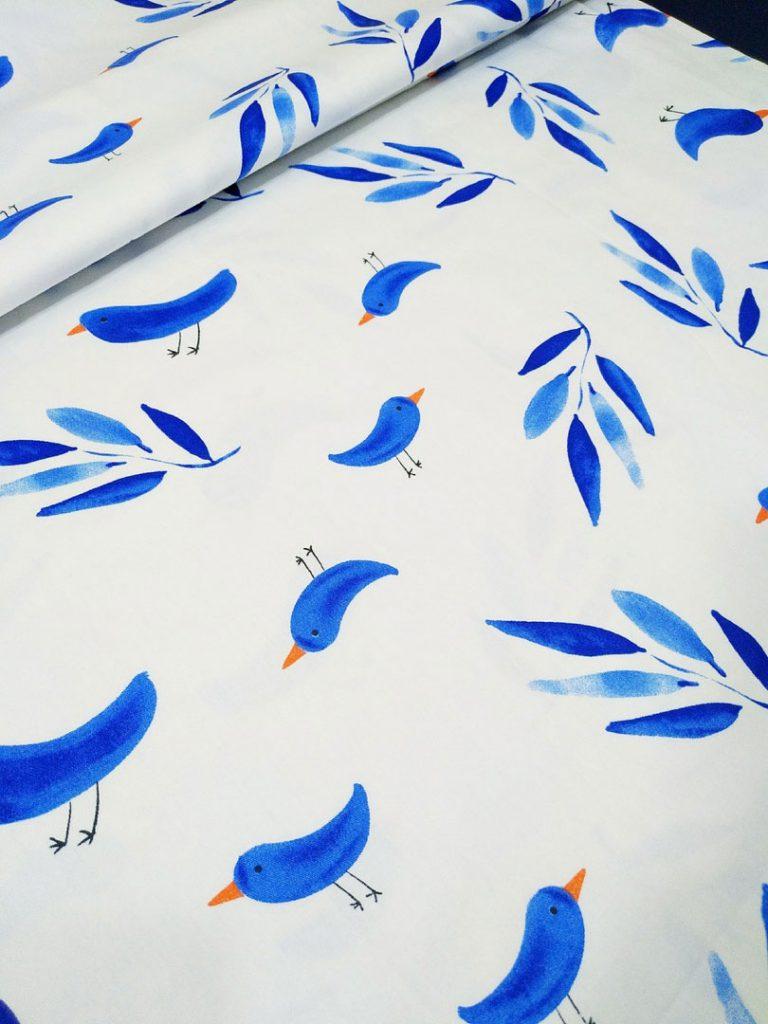 детское постельное белье синие птички