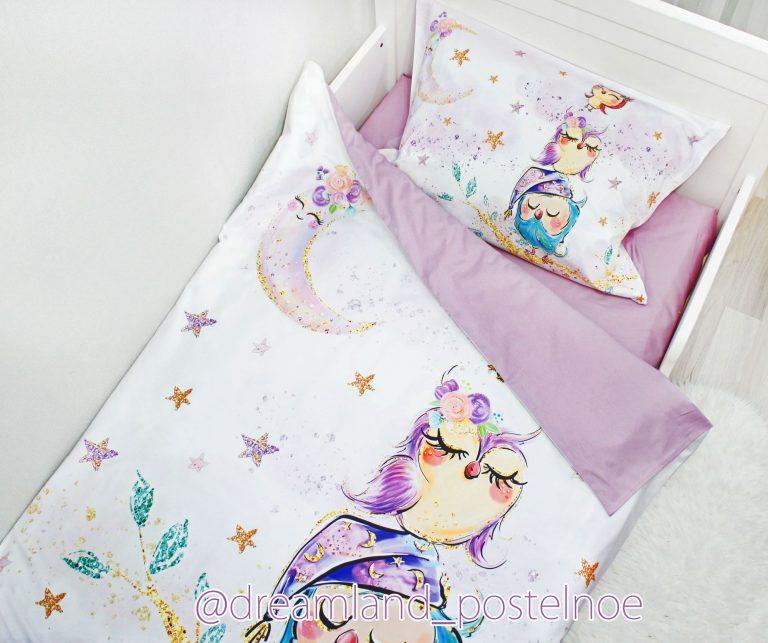 детское постельное белье совушки на ветке