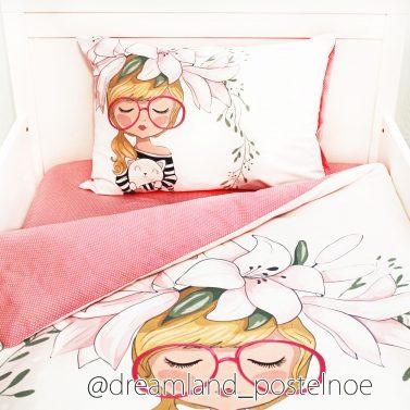 постельное белье девочка с котенком