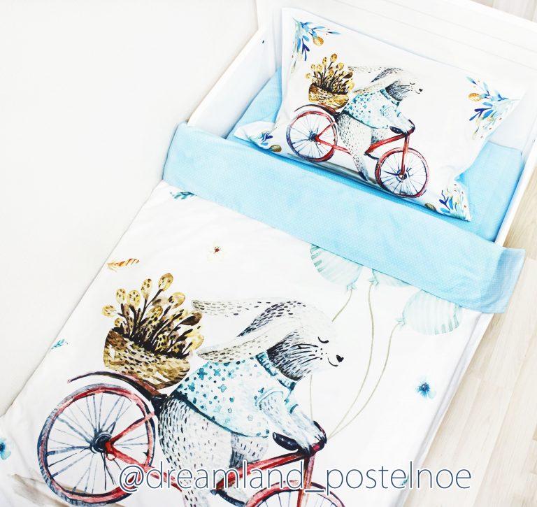 постельное белье зайка на велосипеде