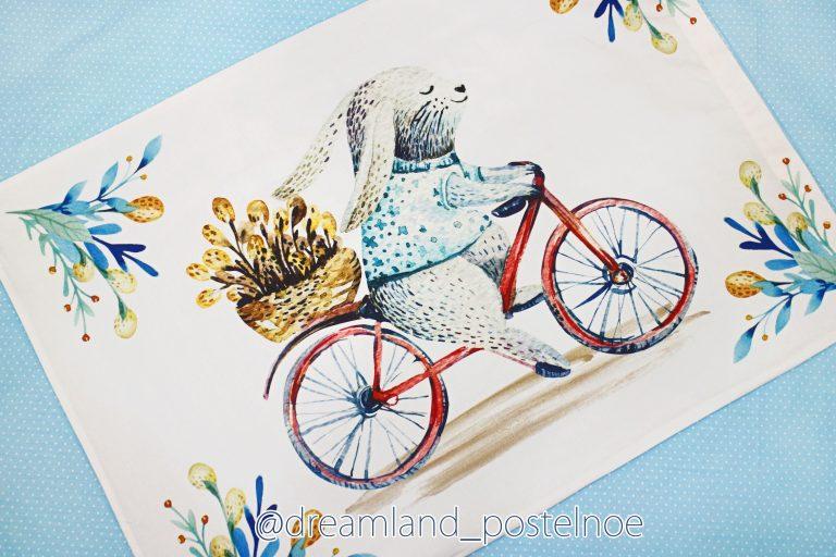 постельное с зайкой на велосипеде
